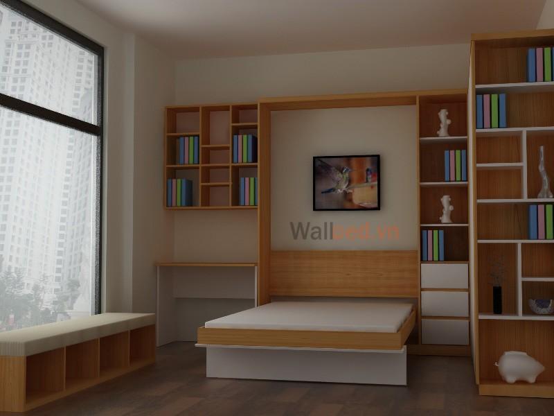giường thông minh kết hợp giá sách