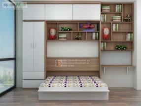 Giường Tủ thông minh có giá sách
